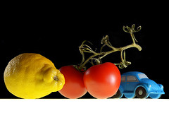 Primary colours (Apionid) Tags: blue red stilllife yellow vw lemon tomatoes beetle primarycolours werehere day164366 nikond7000 hereios 12jun16 366the2016edition 3662016