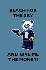 Reach for the sky! (tim constable) Tags: party costume outfit funny comedy panda humorous lego lol joke humour criminal disguise formalwear pistol minifig robbery underworld blacktie fancydress handsup mugging witty surrender armed minifigure stickemup incognito heist dinnerjacket reachforthesky handitover timconstable