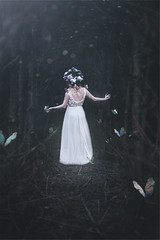 Isolation series II (M // O PHOTOGRAPHY) Tags: selfportrait butterfly photography isolation headdress fineartphotography darkforest portraitphotography creativephotography girlinwhitedress selfportraitphotography floralcrown