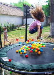 Levitation (clevernails) Tags: summer holiday colors girl playground garden flying jump balls levitation trampoline gravitation