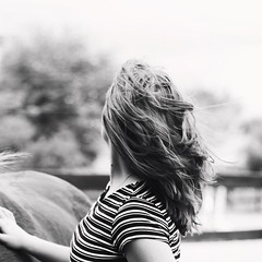 Beth (lizdvh) Tags: blackandwhite girl hair wind hairflip