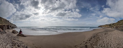 'Praia Pequena' (Canadapt) Tags: panorama woman praia beach portugal rock clouds sand surf waves rosa cliffs canadapt