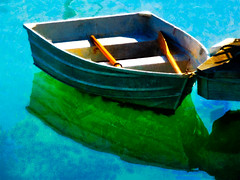 Tranquil Waters (Steve Taylor (Photography)) Tags: blue newzealand white reflection green art texture water sunshine yellow digital boat spring sunny calm nz southisland tranquil dinghy oars tasmanbay