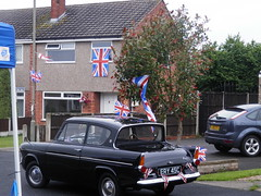 Shipley Street Party (58 023 'Peterborough Depot') Tags: ford anglia 105e british street party union jack flags