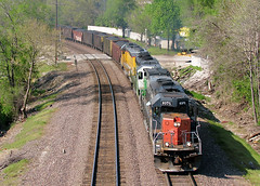MNA at Independence, MO (nsmith8853- I'm tired of shootings GE's!) Tags: railroad up train pacific union like railway tunnel trains bn sp missouri motor arkansas independence northern railfan mna i