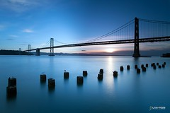 Sunrise at Bay Bridge (universini) Tags: sanfrancisco longexposure sea water sfo baybridge bayarea sini embarcedero mandya universini siddegowda nidagatta