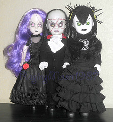 Group shot (RagingMoon1987) Tags: redrose greeneyes braids blackhair pinkeyes purplehair blackdress livingdeaddoll blacklips blacklipstick greeneyeshadow blacksuit whiteskin mezcotoyz gothicdoll greeneyeddoll