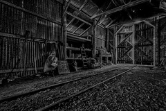 Beware Of Trains (vorka70) Tags: blackandwhite barn train mono track shed rail traintrack southgippsland vorkaimagery coalcreekhistoricalpark