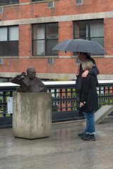 Morning Colin (CasualCapture) Tags: park nyc newyorkcity morning people sculpture rain manhattan may rainy busted highline colinpowell goshkamacuga 2013 friendsofthehighline highlineart