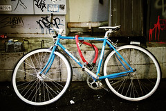 Blue Bianchi (lukemarkof) Tags: road city blue light shadow red black reflection building green art classic rain bike bicycle japan night canon silver buildings dark fun happy japanese grey tokyo design asia exposure play view purple respect outdoor pavement steel shibuya culture fast style funky special reflected exotic chrome fixed fixie footpath depth interest built bianchi challenging 60d