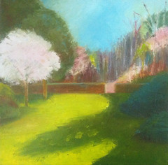 First of May at Long Hill (Oil Bar Painting as of May 23, 2013) (randubnick) Tags: art work painting workinprogress progress painter beverlyma longhillgarden oilbars sedgwickgarden painter12
