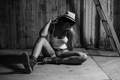 Erin Olivia III (Don3rdSE) Tags: portrait bw woman black hot cute sexy beautiful hat canon eos model eyes legs young posing iowa teen ia 7d stunning april africanamerican shorts cleavage desmoines 2013 modelmayhem canon7d don3rdse mystudioby