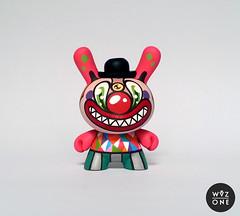 "3"" Clownny (WuzOne) Tags: painting toy diy handmade clown vinyl kidrobot custom commission acrylics dunny munny artoy wuzone clownny"