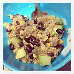 Quinoa-black bean-corn-avocado-onion-spices-jumble (mtronnow (msthackeray)) Tags: june lunch avocado corn delicious quinoa onion 365 blackbeans 2013