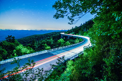 linn cove viaduct, grandfather, nc - at night (AgFineArtPhotography.com) Tags: auto road longexposure blue trees mountains cars nature night stars star evening cove snapshot transport grandfather viaduct lynn ridge mount parkway winding curve linn lyn milkyway lynville