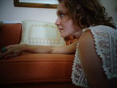 DSC01633 (Becky Haltermon Robinson) Tags: white selfportrait fashion vintage model dress lace antique tie bow 70s slip 1970s gilded modelling fashionshoot selfie sidetie fashionblog buttonshoulder auntdelce