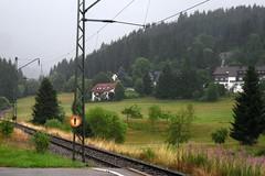 Railroad, wet (tillwe) Tags: rain landscape railwaystation schwarzwald blackforest tillwe windgfllweiher 201307 altglashttenfalkau
