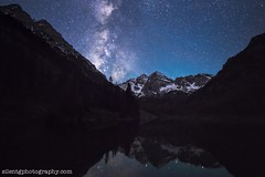Maroon Bells (Silent G Photography) Tags: longexposure nightphotography mountain reflection nikon colorado peak wideangle astrophotography rockymountains 14er aspen milkyway reallyrightstuff westernslope aspensnowmass pitkincounty nikond800 markgvazdinskas silentgphotography silentgphoto