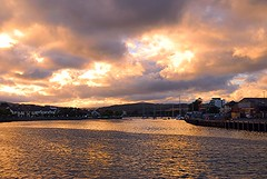 Arklow Harbour at Twilight (murtphillips) Tags: ireland houses light mountains clouds boats town twilight harbour august arklow