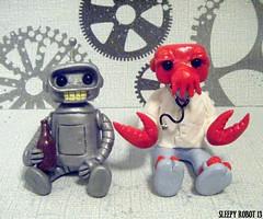 Bender and Zoidberg Robots (Sleepy Robot 13) Tags: cute robot diy handmade robots polymerclay fimo comicbook kawaii sculpey etsy urbanvinyl marvel sculpting smallbusiness sleepyrobot13 polymerclayurbanvinylsleepyrobot13etsysilvercraftcraftscraftingsculptingsculpturefigurinearthandmadecraftshowcutekawaiirobots