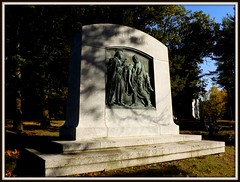 Full View, Ernest W. Haass Memorial: Woodlawn Cemetery--Detroit MI (pinehurst19475) Tags: city sculpture bronze memorial detroit granite biblical sculptor woodlawn basrelief newtestament woodlawncemetery graveart charleskeck bronzeandgranite ernesthaassmemorial ernestwhaassmemorial