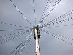 Lines a-buzz with emails (daviddb) Tags: telephone pole wires telegraph telegram