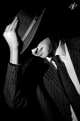gangsta' trippin' (sherlylock) Tags: new york light portrait bw white black grid diy gangster dress hard suit homemade fancy honeycomb trilby 1930 zoot