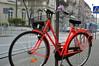 Orange bicycle and blue tram (elovelos) Tags: bicycle kraków cracow tory rower jesień tramwaj karmelicka krakoff cyclechic