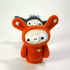 Always a camera monster, this one. (Kit Lane) Tags: bunnies wool felted toys kawaii creatures needlefelted kitlane