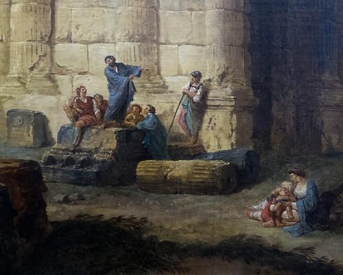 """Hubert Robert (Paris, 1733 - 1808) """"L'arc de triomphe et le théâtre d'Orange"""" dét. (1787) musée du Louvre (Paris, France)"""
