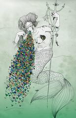 sirena (fatima_menchen) Tags: verde art illustration arte drawing dibujo sirena ilustracion triangulos