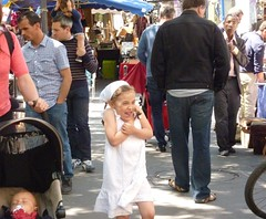 People of Paris - street market with little girl in white (ashabot) Tags: travel people paris cities streetscenes peoplewatching
