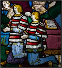 Knights (FlickrDelusions) Tags: scotland glasgow praying stainedglass knights kneeling burrellcollection