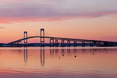 20140206-IMG_75571600 (Ron Stella) Tags: sunset reflection water reflections harbor dusk rhodeisland newport getty gettyimages newportbridge claibornepellbridge
