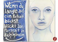 Portrait (bornschein) Tags: blue portrait woman moleskine illustration drawing sketchbook illustratedface