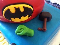 Hulk Fist & Thor's Hammer (Dani Coe) Tags: birthday cake spiderman 18th superman batman icing hulk thor marvel logos