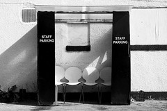 (Delay Tactics) Tags: city shadow bw sunlight white black four chairs sheffield parking explore staff sauna