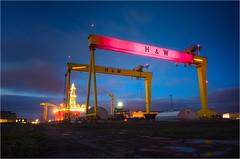 Belfast shipyard crane turn pink for the 2014 giro d'italia (teedee.) Tags: pink race bikes belfast cranes cycle shipyard giro ditalia 2014