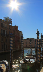 Hey Sunshine! (Fins from Budapest) Tags: city blue venice sky italy sun building water beautiful landscape boat canal stunning poles venedig