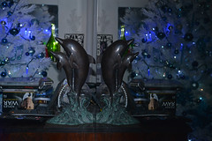 Double Dolphins (BKHagar *Kim*) Tags: show blue 2 two white reflection tree statue bronze silver movie dvd dolphin christmastree double series british foyleswar riversong bkhagar toodepressingtotakethetreedownyet
