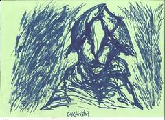 Buco (spamoufraude) Tags: blue portrait selfportrait art face work painting paper sketch artwork paint artist autoportrait drawing marker sharpie draw dibujo draft