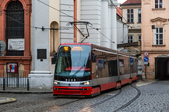 Prague Jan 2015 (6) 040 - Tram passing through a tight arch in the Little Quarter (Mark Schofield @ JB Schofield) Tags: santa city bridge streets tower castle church architecture gold casa europe track break republic czech prague little bell interior transport paintings murals tram chapel charles praha ceiling stnicholas quarter cloister marble baroque pillars bloc cobbles domes eastern loreto tatra loreta
