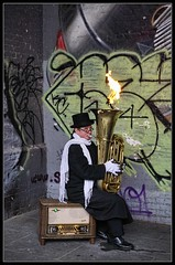 A Firey Toot on a Tuba (38/365) (J-o-h-n---E) Tags: music london vintage graffiti flames visit flame entertainer 365 tuba performer bankside toot awps aperturewoolwich