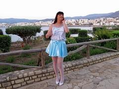 Satin joy (Paula Satijn) Tags: blue white hot sexy stockings girl smile happy shiny pumps legs outdoor silk skirt tgirl crete transvestite satin miniskirt gurl