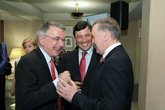 Michael chats with Mr. Nicolas Chapuis, Ambassador of France to Canada, and Senator Serge Joyal in Ottawa