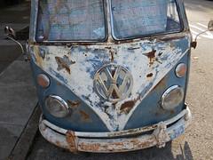 VW Bus (kenjet) Tags: sf sanfrancisco old blue bus classic love car vw vintage volkswagen cool rust transport rusty german transportation hippie hip van camper vwbus volkswagenbus vwcamper hippiebus volkswagencamper lovevan