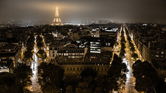 Paris from Arc De Triomphe (Ulstad Photography) Tags: france tower fog night de lights europe ledefrance arc triomphe eiffel fr cityatnight paris8earrondissement