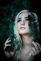 Eyes (alextroshenkov) Tags: world travel portrait people tree art colors girl face forest canon photo paint cone russia picture siberia spruce barnaul 60d