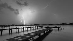 Monochrome Lightning in Middle River (ken.krach (kjkmep)) Tags: lightning middleriver
