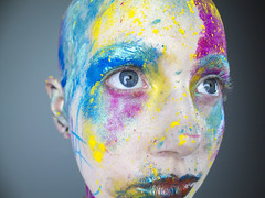 Bald (fenellawhiteley) Tags: blue england woman west detail macro eye art english college girl make up yellow lady canon project photography eos major rainbow eyes close lashes purple bright random britain south young bald powder lips final teenager british colourful splash stroud amateur assessment mua fenella whiteley 1100d